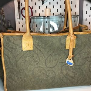 Dooney & Bourke canvas and leather monogram tote